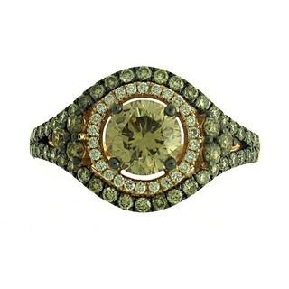 Azaro 14k Rose Gold 17/8ct TDW Round Brown Diamond Halo Engagement Ring (G-H, SI1-SI2)