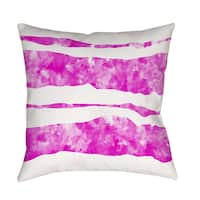 Summer Florals Pink Stripe Decorative Throw Pillow