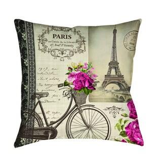 Springtime in Paris Bicycle Indoor/ Outdoor Pillow