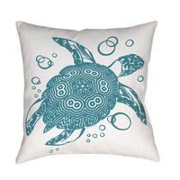 Honu Turtle Teal Indoor/ Outdoor Pillow