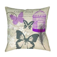 Butterfly Collage Burlap Decorative Pillow