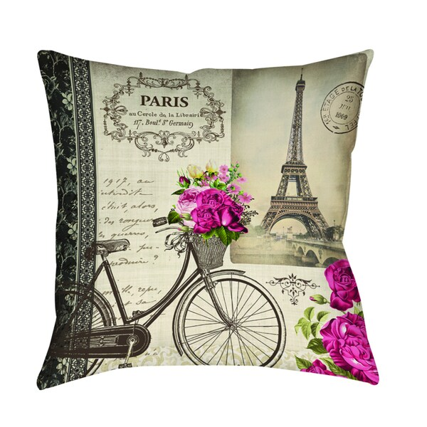 Springtime in Paris Bicycle Decorative Throw Pillow