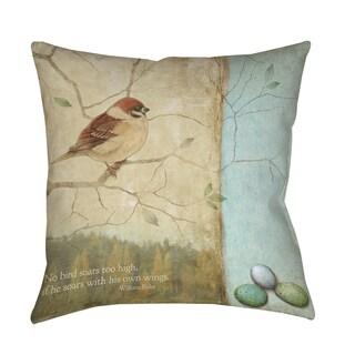 Thumbprintz Bird Quote Sparrow Indoor/ Outdoor Pillow