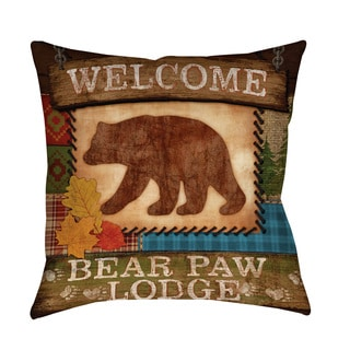 Thumbprintz Welcome Bear Paw Lodge Indoor/ Outdoor Pillow
