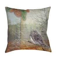 Conifer Lodge Owl Indoor/ Outdoor Pillow