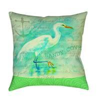 Salty Air Egret Decorative Pillow
