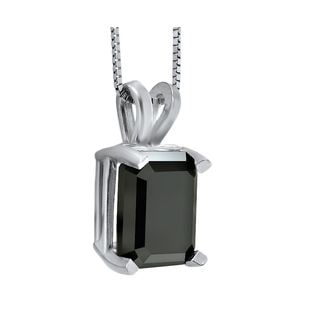 14k White Gold 2 4/5ct TDW Black Emerald-cut Diamond Solitaire Pendant