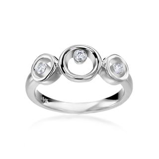 SummerRose 14k White Gold 1/10ct TDW Diamond 3-stone Fashion Ring