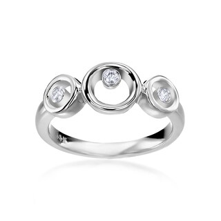 SummerRose 14k White Gold 1/10ct TDW Diamond 3-stone Fashion Ring