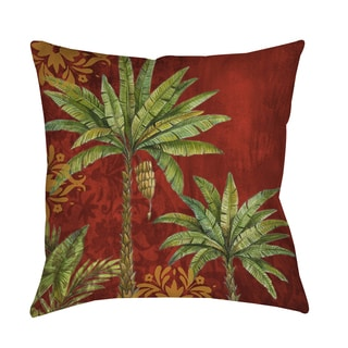 Palms Red Decorative Throw Pillow