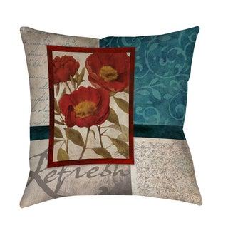 Red Botanicals I Indoor/ Outdoor Pillow (Medium - 16 x 16)