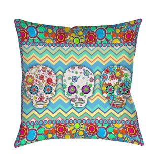 Thumbprintz Sugar Skull Chevron Box Decorative Throw Pillow