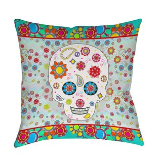 Thumbprintz Sugar Skull Colored Box Indoor/ Outdoor Pillow