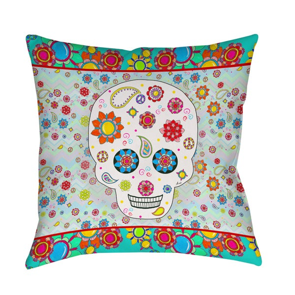 Sugar Skull Colored Box Indoor/ Outdoor Pillow
