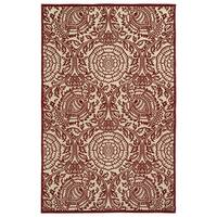 Indoor/Outdoor Luka Red Zen Rug - 7'10 x 10'8