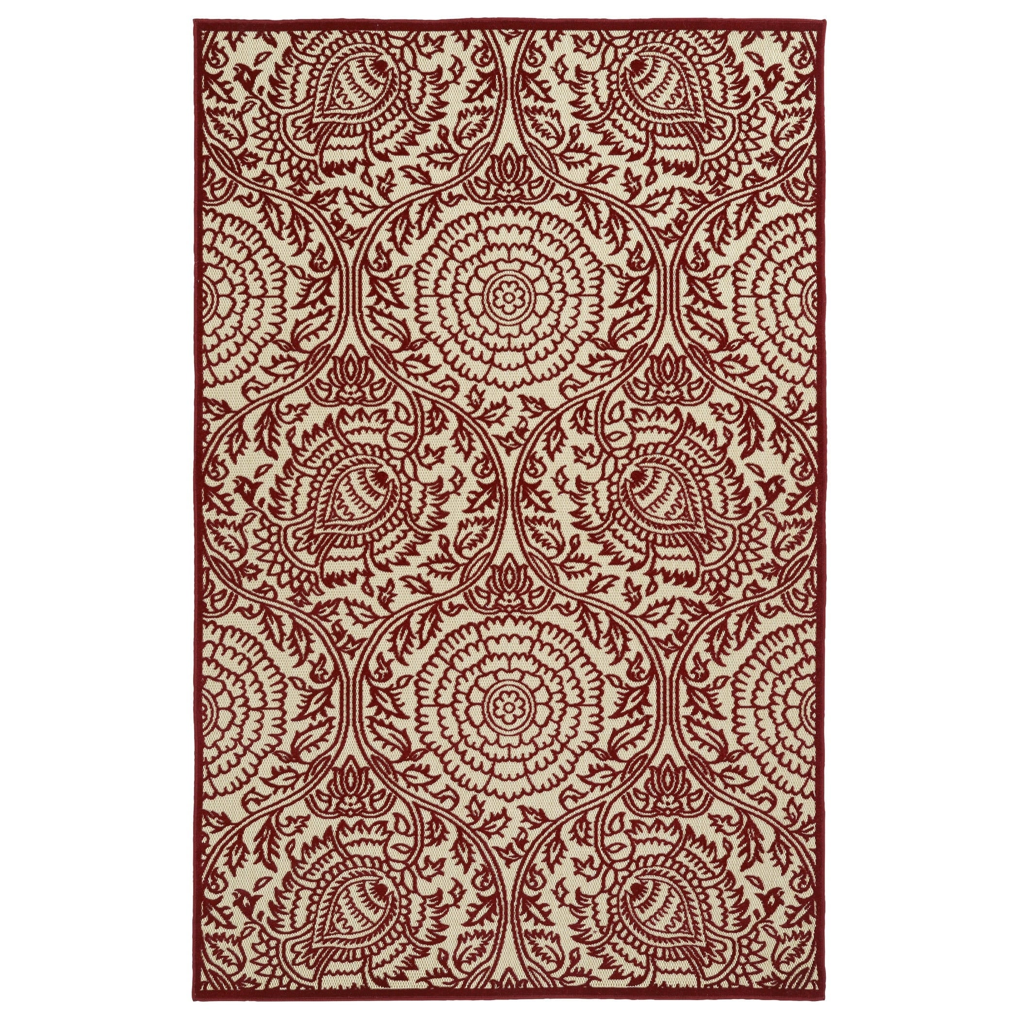 Bombay Home Indoor/Outdoor Luka Red Zen Rug (2' x 4') (2'...