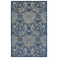 Indoor/Outdoor Luka Navy Zen Rug - 7'10 x 10'8