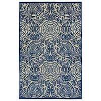 Indoor/Outdoor Luka Navy Zen Rug - 2'6 x 7'10