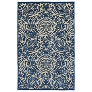 "Indoor/Outdoor Luka Navy Zen Rug - 2'1"" x 4'"