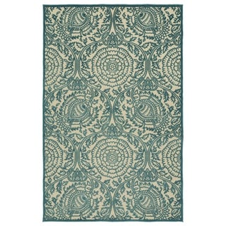 "Indoor/Outdoor Luka Blue Zen Rug - 3'10"" x 5'8"""