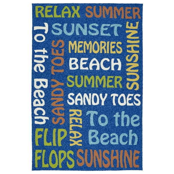 Indoor/Outdoor Handmade Getaway Navy Summer Rug - 9' x 12'