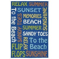 Indoor/Outdoor Handmade Getaway Navy Summer Rug - 5' x 7'6