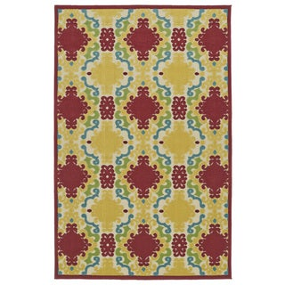Indoor/Outdoor Luka Red Damask Rug (8'8 x 12'0)