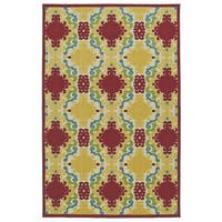 Indoor/Outdoor Luka Red Damask Rug - 8'8 x 12'