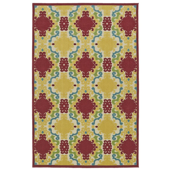 "Indoor/Outdoor Luka Red Damask Rug - 2'1"" x 4'"