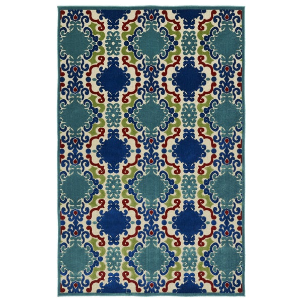 Indoor/Outdoor Luka Navy Damask Rug - 8'8 x 12'