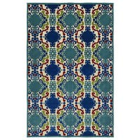 Indoor/Outdoor Luka Navy Damask Rug (8'8 x 12'0) - 8'8 x 12'