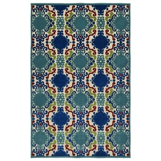 Indoor/Outdoor Luka Navy Damask Rug (7'10 x 10'8) - 7'10 x 10'8