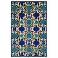 Indoor/Outdoor Luka Navy Damask Rug (7'10 x 10'8) - 7'10 x 10'8