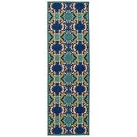 Indoor/Outdoor Luka Navy Damask Rug - 2'6 x 7'10