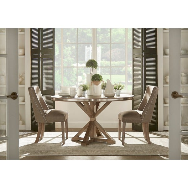 Abbott Rustic Round Stainless Steel Strap Oak Trestle Dining Set by iNSPIRE Q Artisan