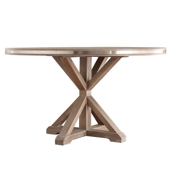 Abbott Rustic Round Stainless Steel Strap Oak Trestle Dining Set By INSPIRE  Q Artisan   Free Shipping Today   Overstock.com   17250821