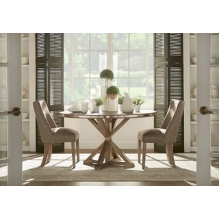 Beautiful Abbott Rustic Round Stainless Steel Strap Oak Trestle Dining Set By INSPIRE  Q Artisan Amazing Pictures