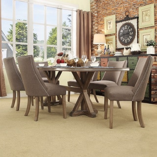 SIGNAL HILLS Abbott Rustic Rectangular Stainless Steel Strap Oak Trestle Dining Set