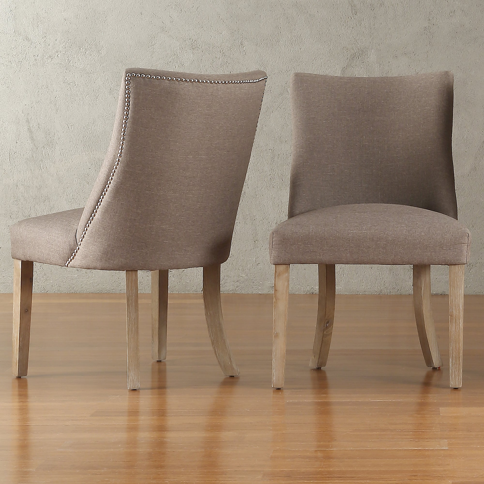 Abbott Nailhead Curved Back Upholstered Dining Chairs (Se...