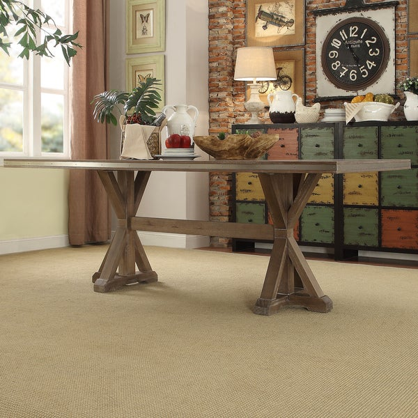 abbott rustic stainless steel strap oak trestle dining table by inspire q artisan