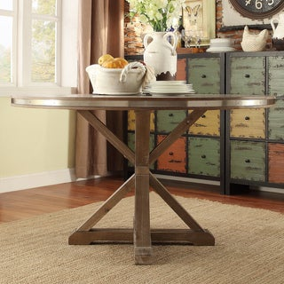 Abbott Rustic Stainless Steel Strap Oak Trestle Dining Table by SIGNAL HILLS