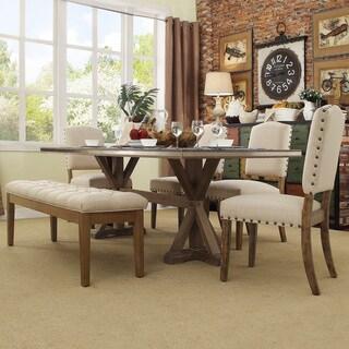SIGNAL HILLS Abbott Rustic Stainless Steel Strap Oak Trestle Dining Table