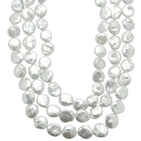 Sterling Silver White Freshwater Coin Pearl 64-inch Necklace (12-13 mm)