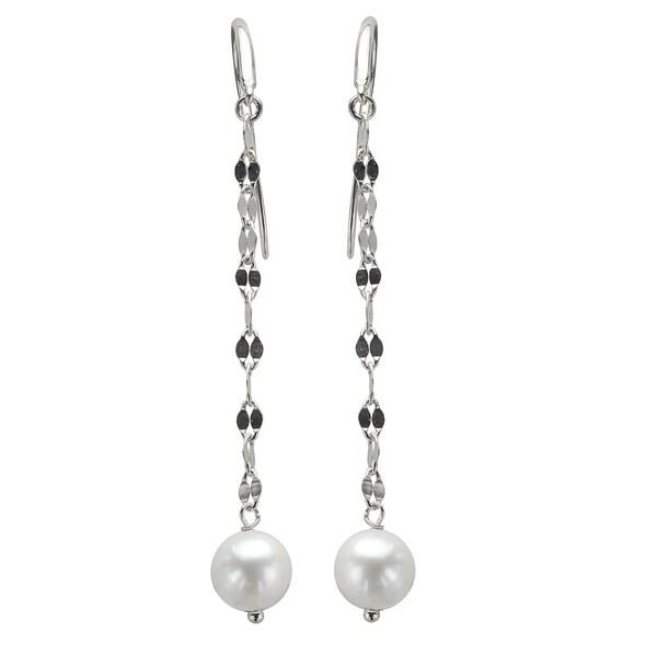 Sterling Silver White Freshwater Pearl Mirror Chain Dangle Earrings (7-8 mm)