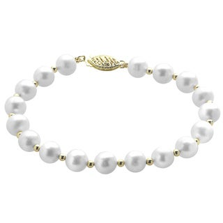 10k Yellow Gold White Freshwater Pearl and Gold Bead 7.5-inch Bracelet (7-7.5 mm)