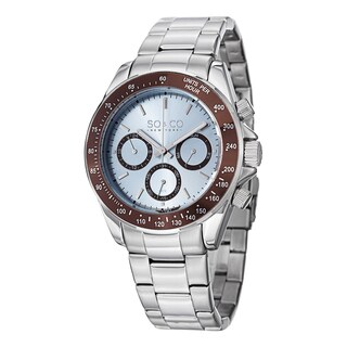 SO&CO New York Men's Monticello Quartz Stainless Steel Day and Date Tachymeter Watch - Silver
