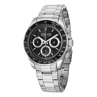 SO&CO New York Men's Monticello Quartz Tachymeter Multifunction Watch with Stainless Steel Bracelet