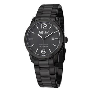 SO&CO New York Men's SoHo Quartz Date Watch with Black Stainless Steel Bracelet|https://ak1.ostkcdn.com/images/products/10111108/P17250850.jpg?_ostk_perf_=percv&impolicy=medium