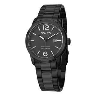 SO&CO New York Men's SoHo Quartz Date Watch with Black Stainless Steel Bracelet|https://ak1.ostkcdn.com/images/products/10111108/P17250850.jpg?impolicy=medium