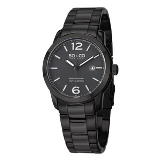 SO&CO New York Men's SoHo Quartz Date Watch with Black Stainless Steel Bracelet
